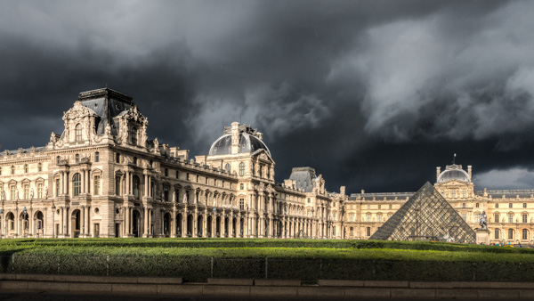 The Louvre, with a few clouds