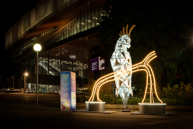 Giant Christmas Cockatoo outside Perth's new Museum